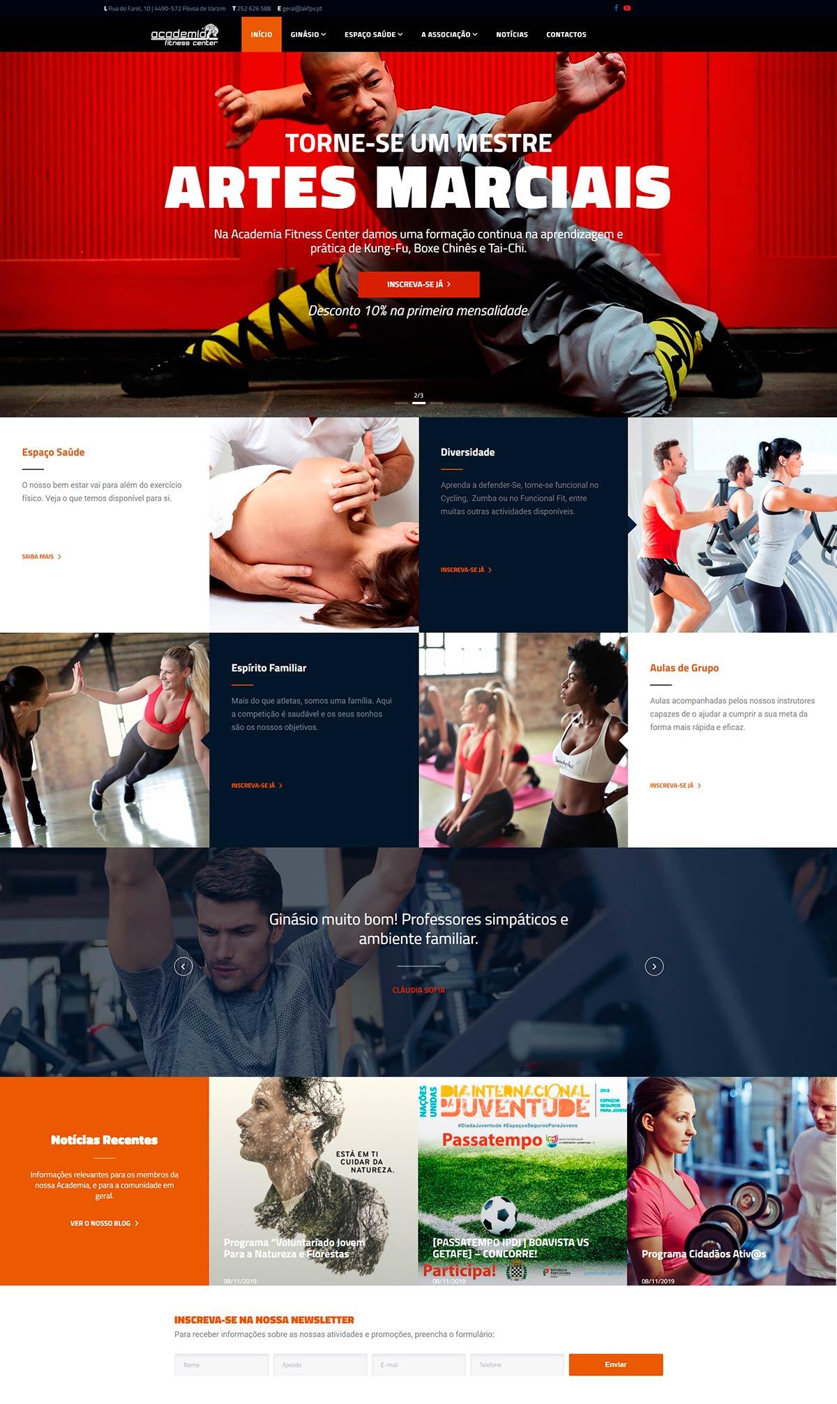 Homepage web design pela Ajnet
